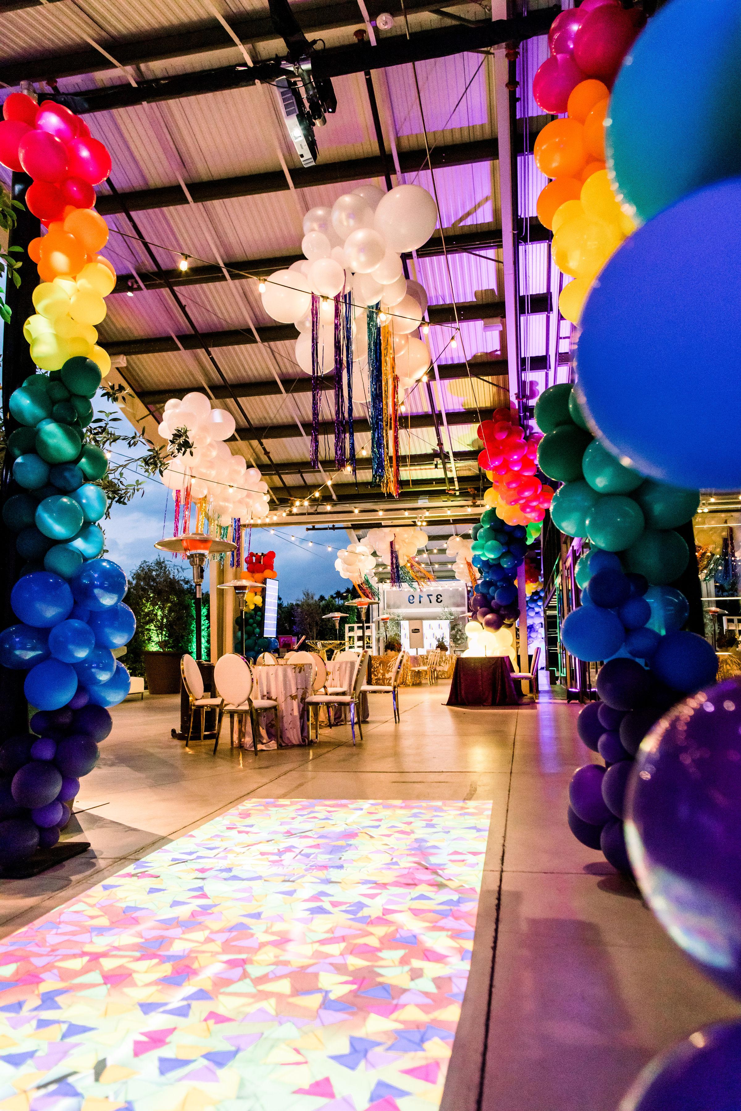 9 rainbow balloon garland balloon columns balloon clouds interactive light projection games rainbow bar mitzvah Life Design Events photos by Stephanie Heymann Photography.jpg