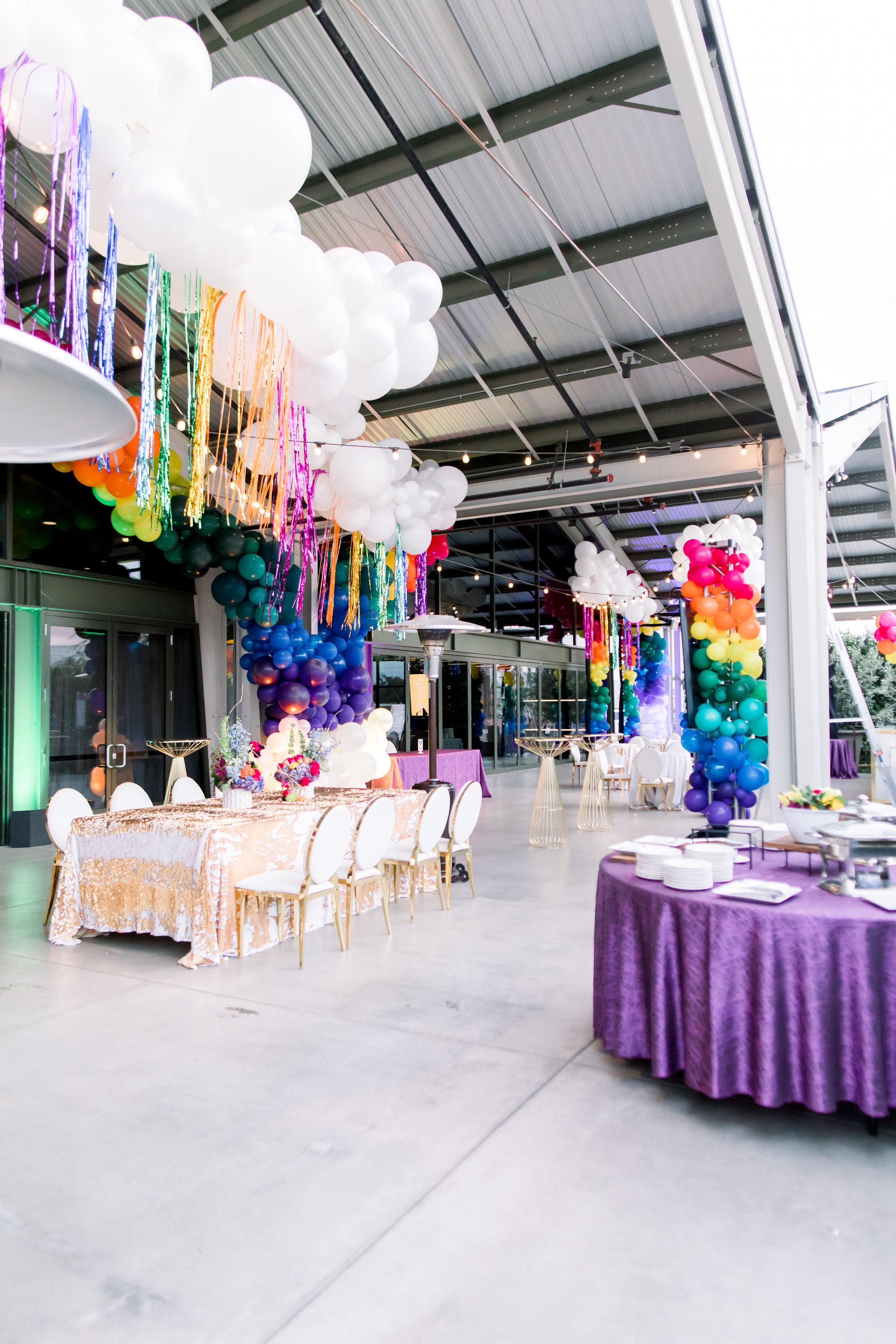 10 balloon clouds rainbow bat mitzvah party mermaid sequin linen rainbow balloon garland column Life Design Events photos by Stephanie Heymann Photography.jpg