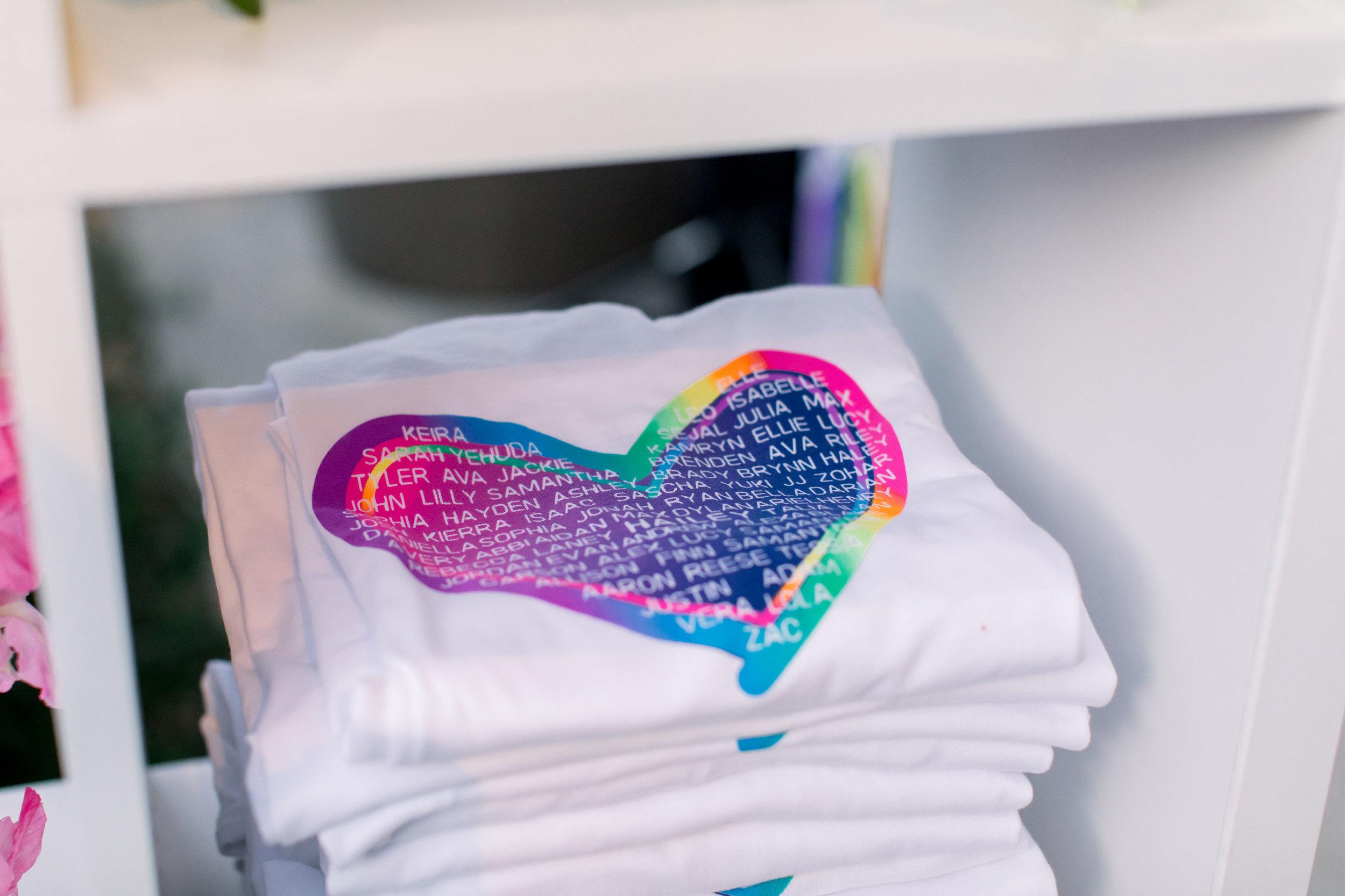 17 custom art tshirt screenprint on site rainbow heart tshirt party guest names on shirt rainbow bat mitzvah Life Design Events photos by Stephanie Heymann Photography.jpg