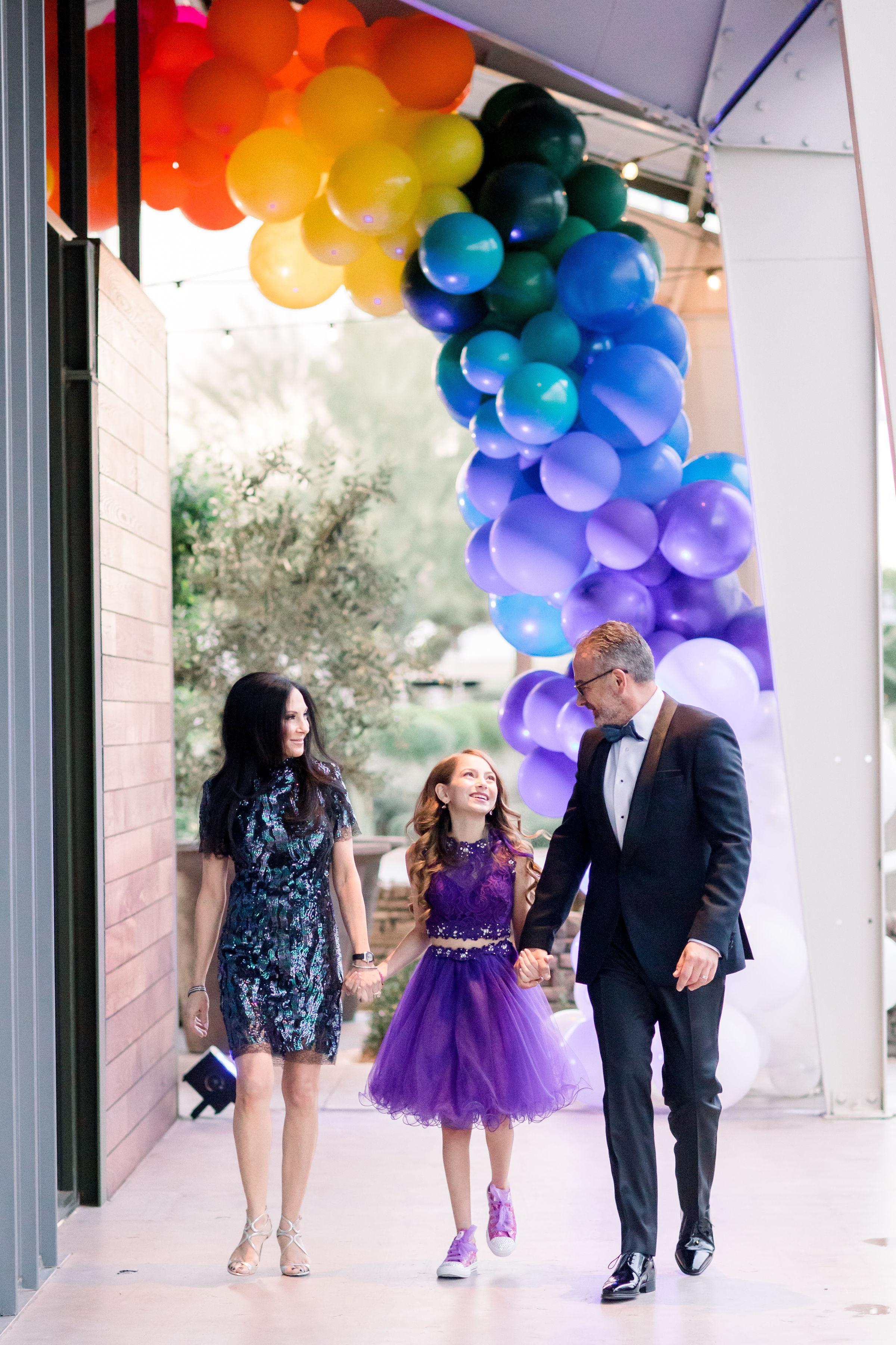 19 rainbow balloon arch rainbow bat mitzvah purple tulle skirt sequin dress bat mitzvah family Life Design Events photos by Stephanie Heymann Photography.jpg