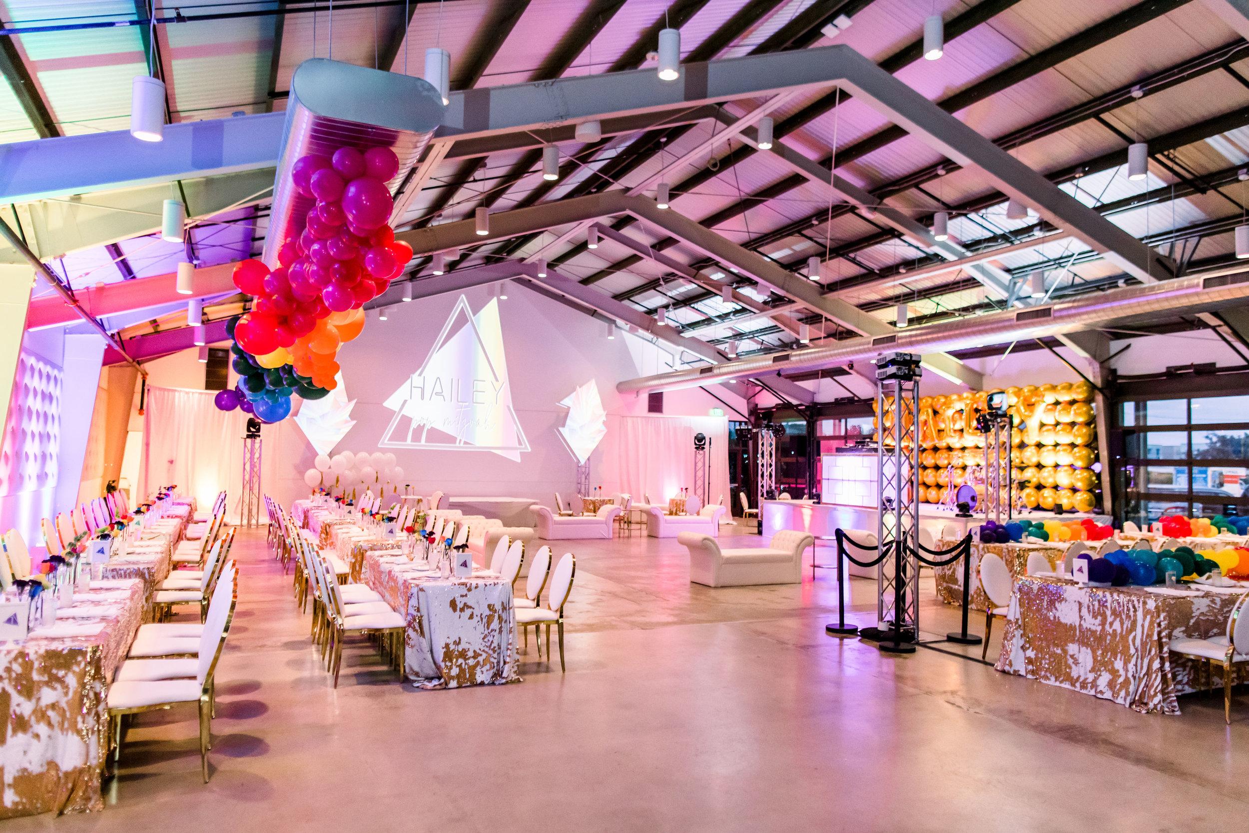 22 rainbow bat mitzvah party room reception dinner tables mermaid sequin table linen rainbow balloon garland custom light projection Life Design Events photos by Stephanie Heymann Photography.jpg