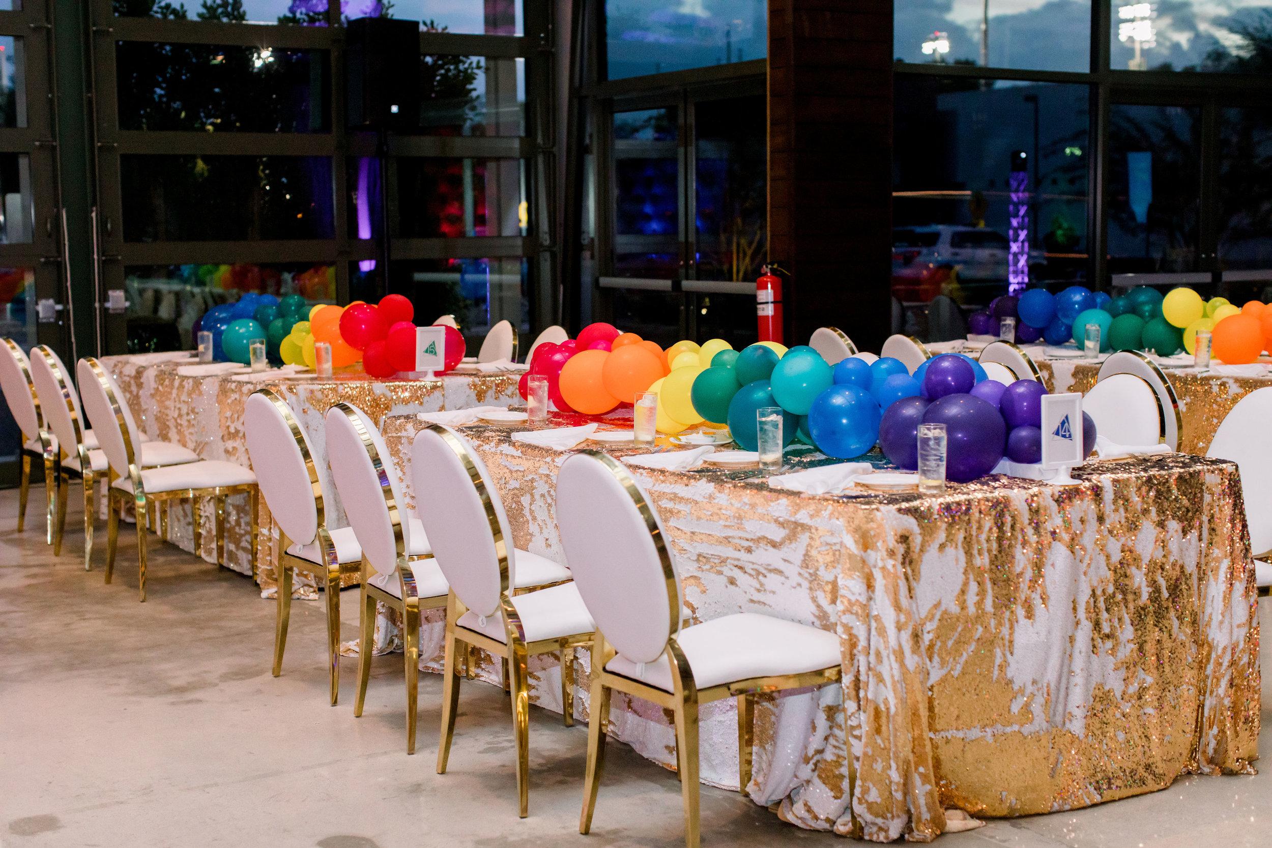 27 party dinner table rainbow balloon garland mermaid sequin table linen gold Life Design Events photos by Stephanie Heymann Photography.jpg
