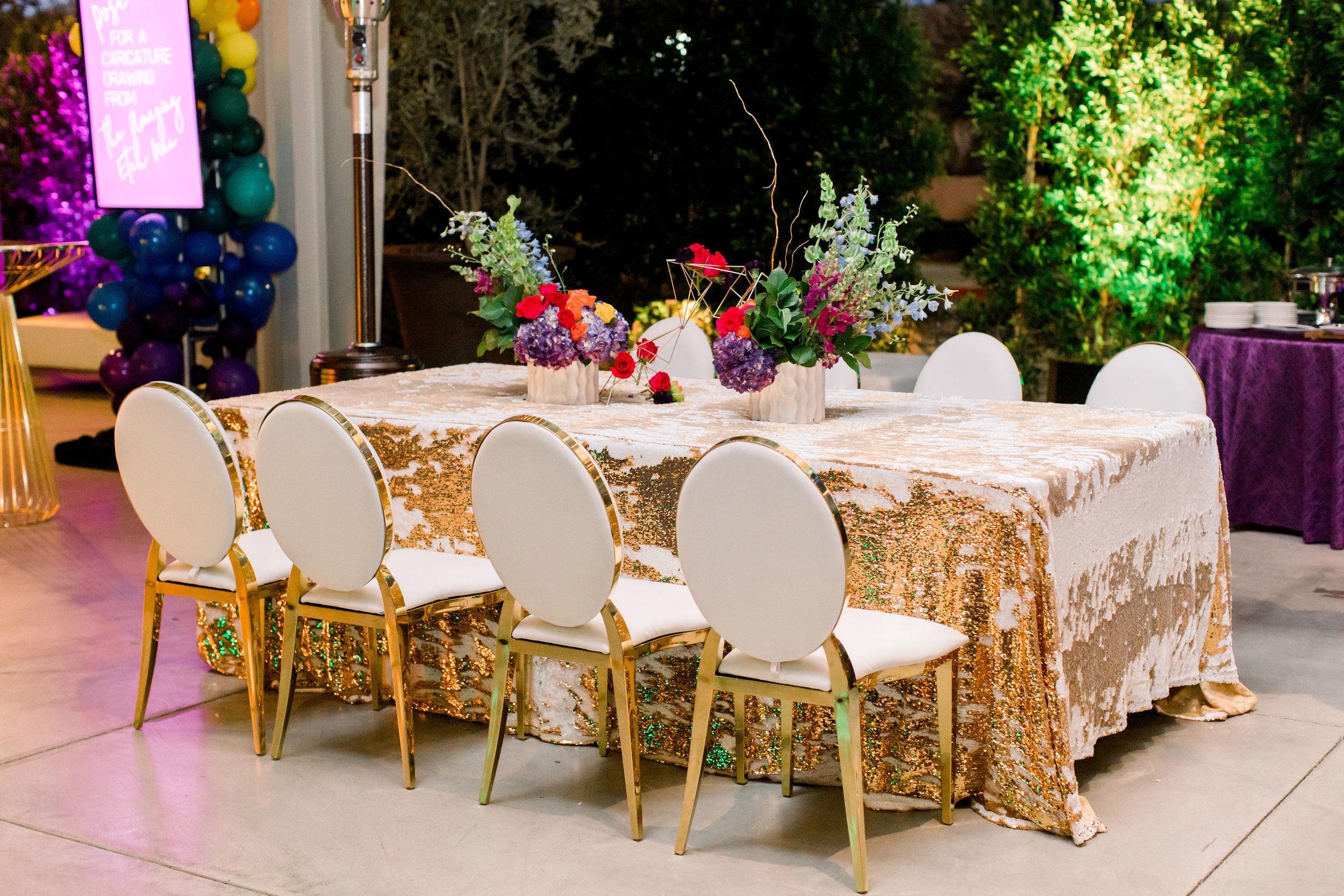 28 party dinner table rainbow flower centerpiece gold geometric centerpiece gold mermaid sequin table linen rainbow bat mitzvah Life Design Events photos by Stephanie Heymann Photography.jpg