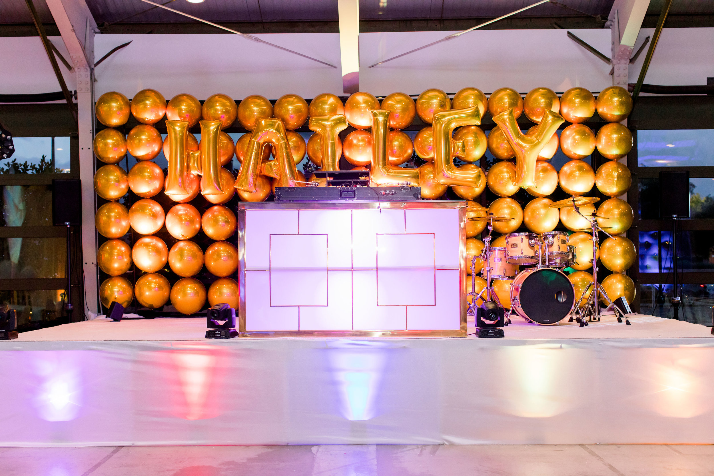 30 gold balloon wall gold bar dj station rainbow lit stage custom balloon wall rainbow bat mitzvah Life Design Events photos by Stephanie Heymann Photography.jpg