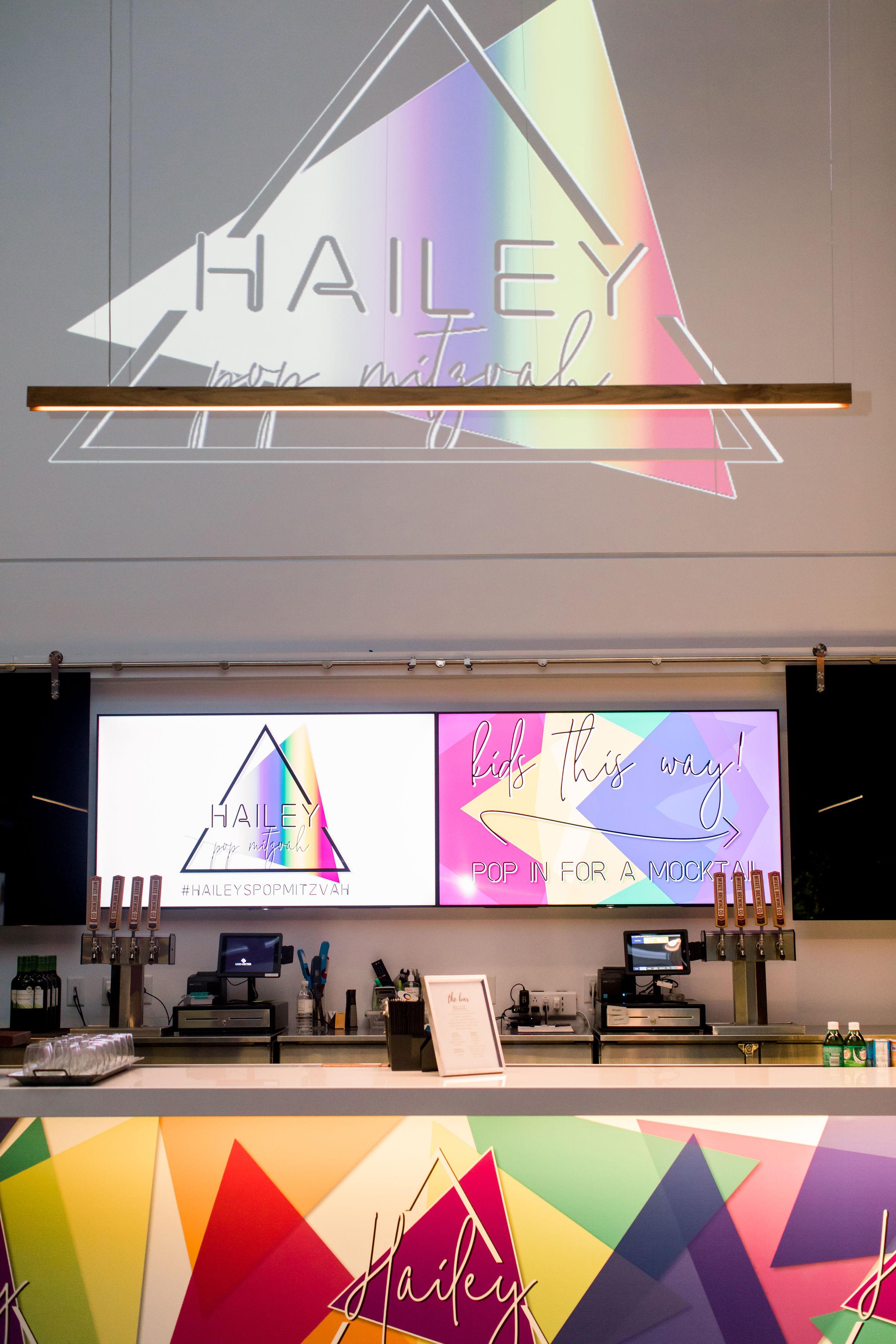 40 custom bar graphic bat mitzvah party personalized logo mocktail bar sign rainbow geometric sign rainbow bat mitzvah custom light projection Life Design Events photos by Stephanie Heymann Photography.jpg