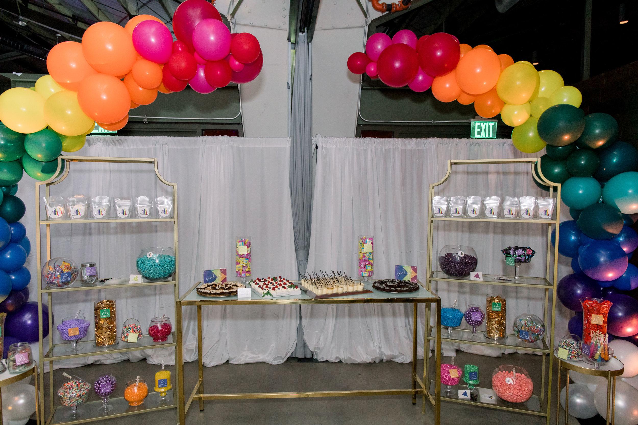 44 candy bar choose your own candy rainbow balloon arch rainbow candy dessert bar rainbow bat mitzvah party Life Design Events photos by Stephanie Heymann Photography.jpg