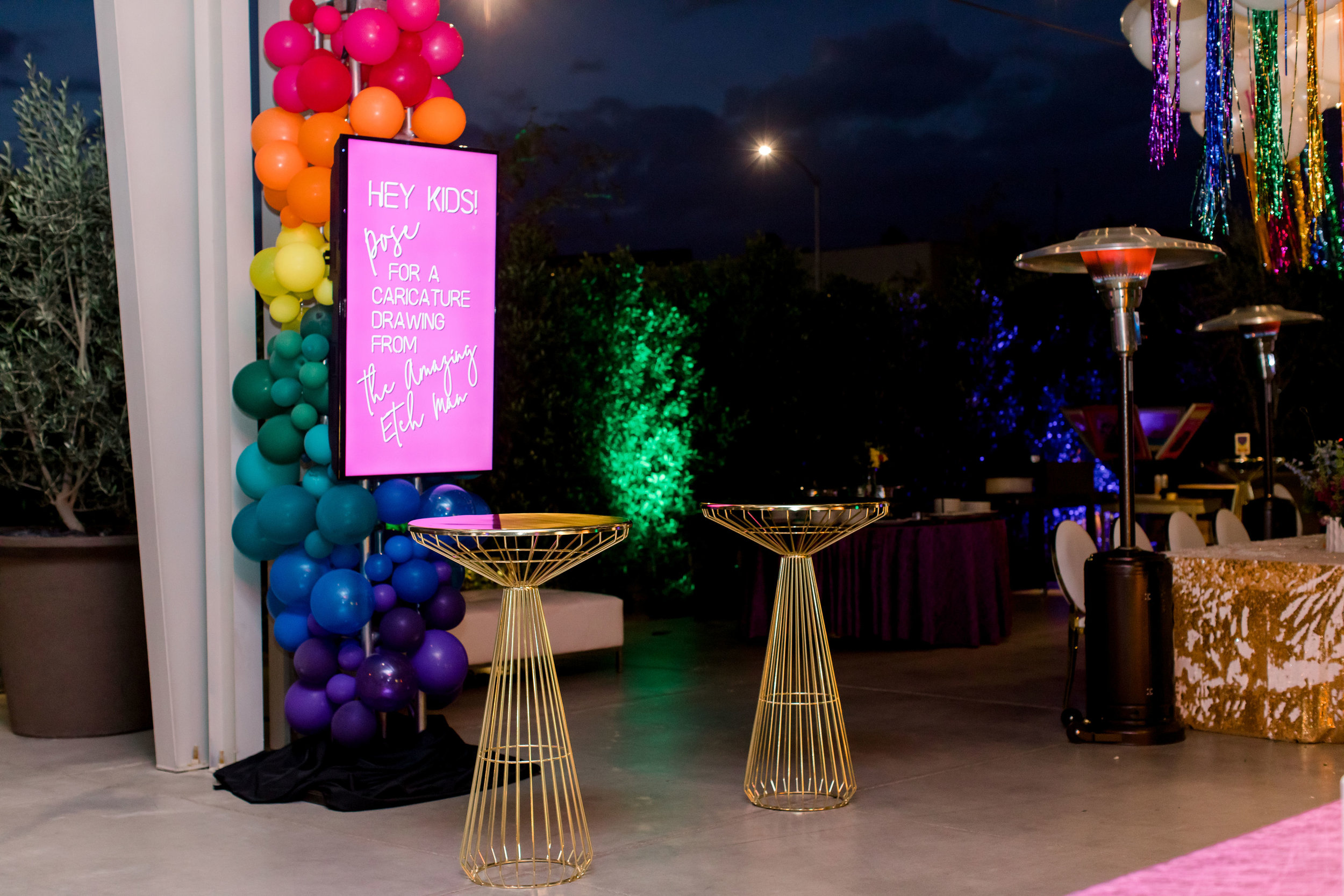 50 rainbow balloon column electronic party sign announcements rainbow bat mitzvah gold mermaid sequin linen Life Design Events photos by Stephanie Heymann Photography.jpg
