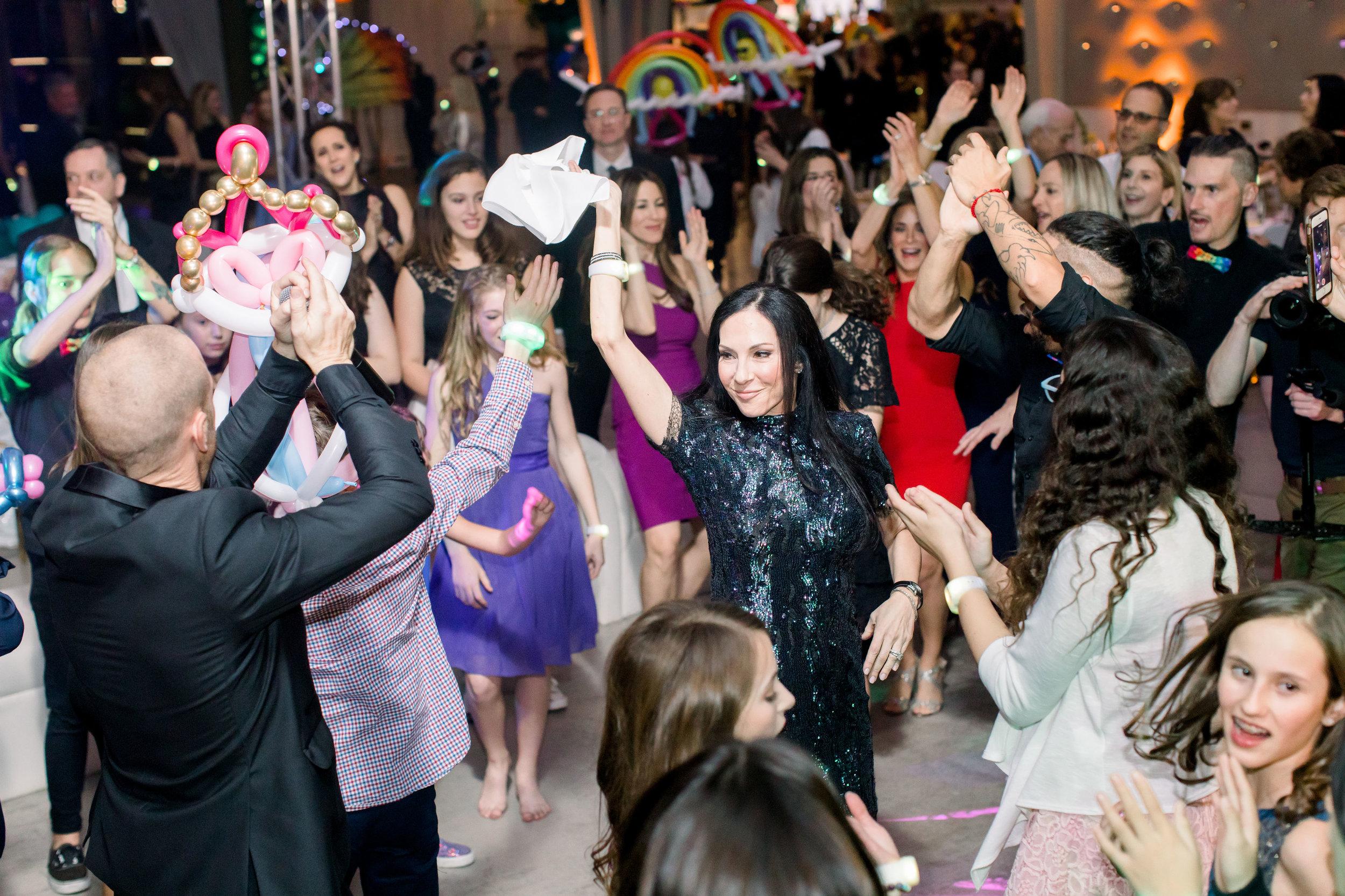 60 rainbow bat mitzvah dance party sequin cocktail dress guests on dance floor Life Design Events photos by Stephanie Heymann Photography.jpg
