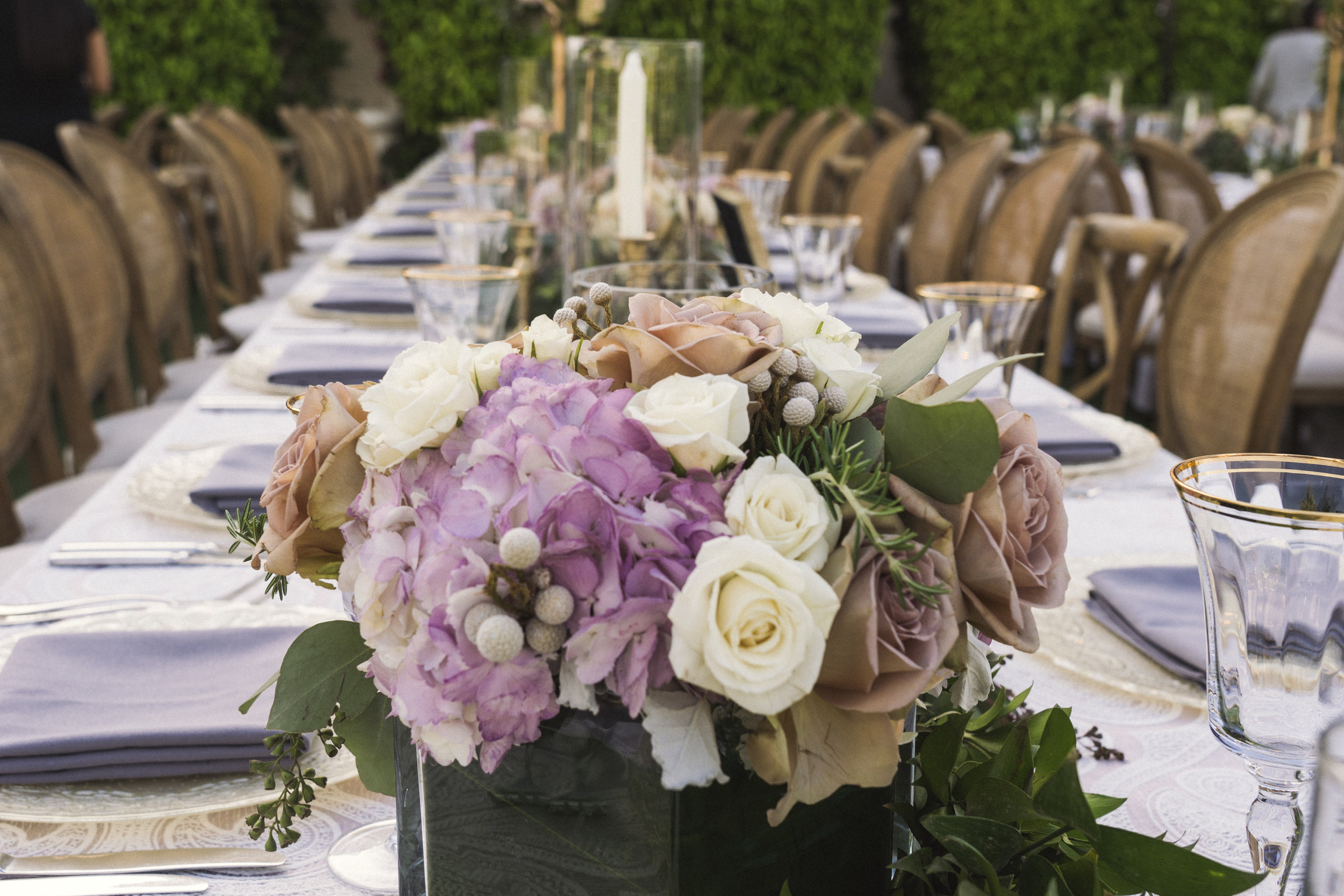 6 white rose purple hydrangea centerpiece candlelight dinner table Life Design Events photos by Keith and Melissa Photography.jpg