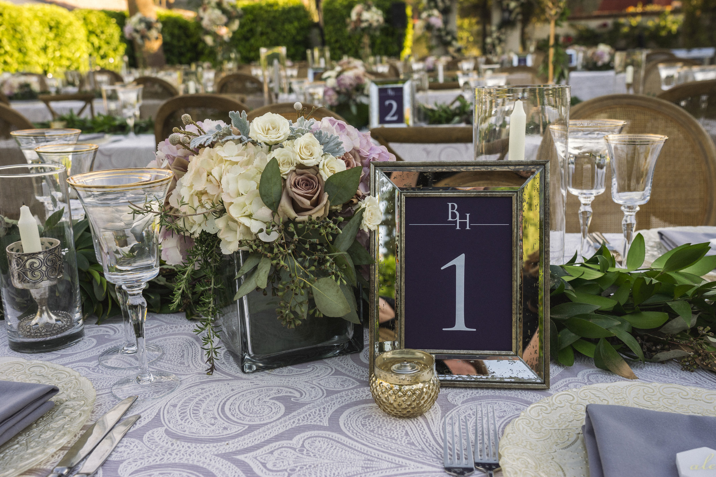 8 table number frame rose hydrangea centerpiece purple white lace linen dinner table Life Design Events photos by Keith and Melissa Photography.jpg