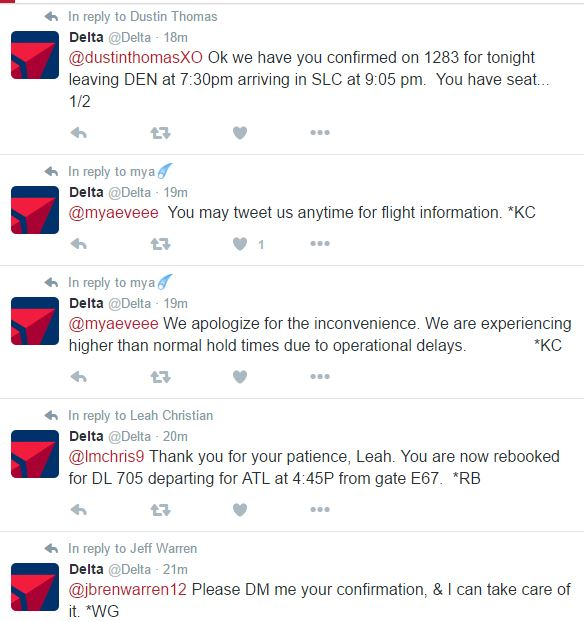 Example of social media marketing being used as customer service in a time of crisis.