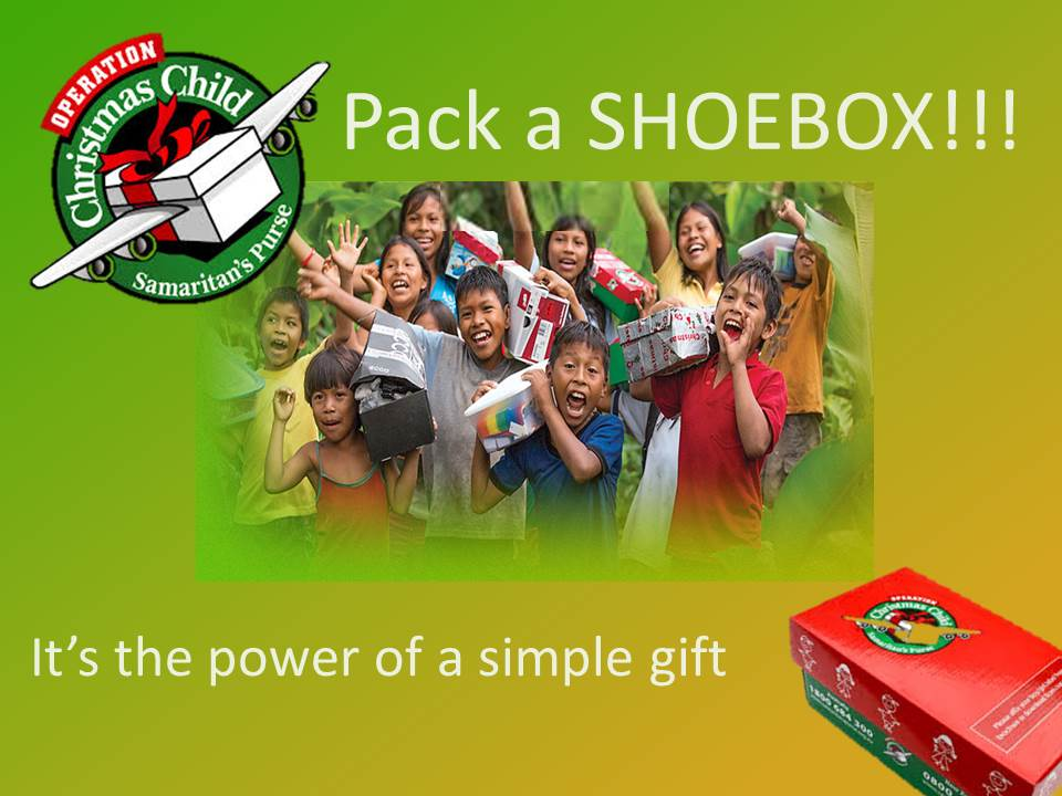 We participate in Operation Christmas Child every November!