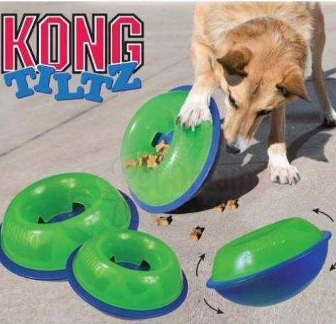 KONG Tiltz - As your dog tilts, spins and rocks the toy, treats are erratically dispensed for added engagement and enticing fun.