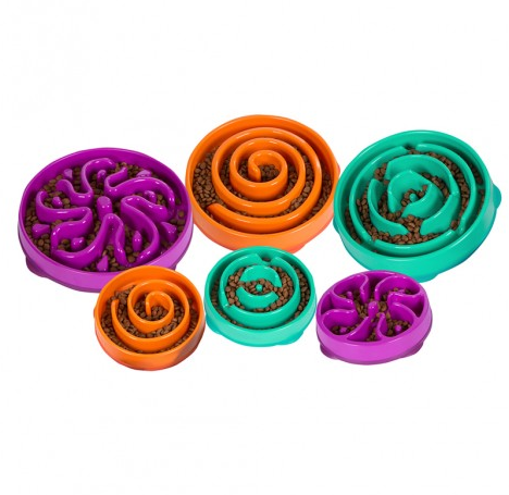 Fun FeederSlo-Bowls - IMPROVES DIGESTION - These dog bowls naturally improve digestion by allowing dogs to forage for their food through the fun patterns and mazesPROPER PORTIONS- The Large Fun Feeder Slo-Bowl holds up to 4 cups of dry kibble, the Small holds 2 cups & the X-Small holds 3/4 cup.