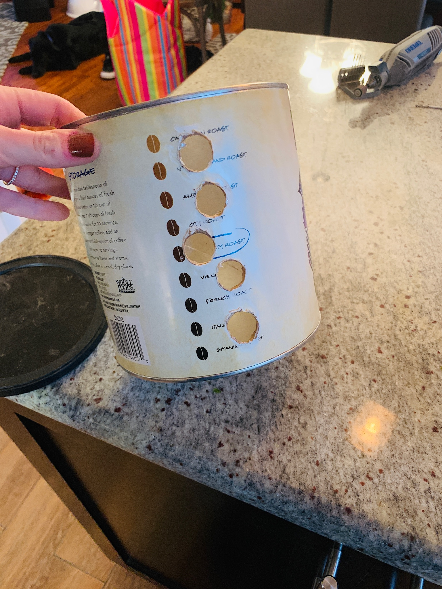 Coffee Container w/ Holes and Kibble