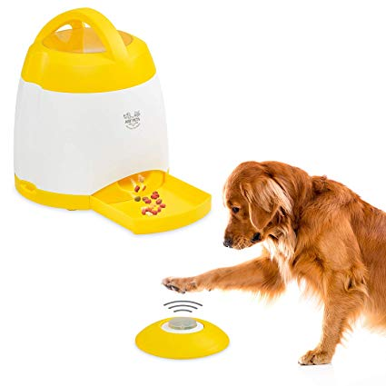 ARF Pet Dog Puzzle Dispenser - Designed for memory improvement and exercise, the versatile activity trainer encourages your pet to run and play by rewarding with treats: Each time your dog presses the remote release button, an exciting sound plays, and treats dispense into the feeding tray. Increase the difficulty level by placing the remote release unit in another room. Give your dog a healthy dose of daily exercise and a doggone good time with the activity trainer from Arf Pets.