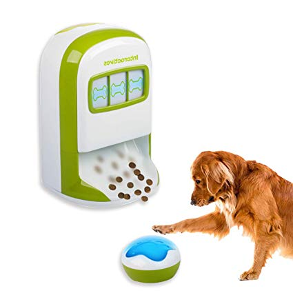 All For Paws Interactives - EVER PLAY A SLOT MACHINE??? This is a slot machine for dogs with a 100% chance of winning every time.A Smart way to teach your dog new tricks.Place the wireless button a few feet from the lucky treat, when its light turns on ask your dog to push on it. when he does he will be rewarded with treats that comes out of the lucky treat base. Your dog will always be the winner.