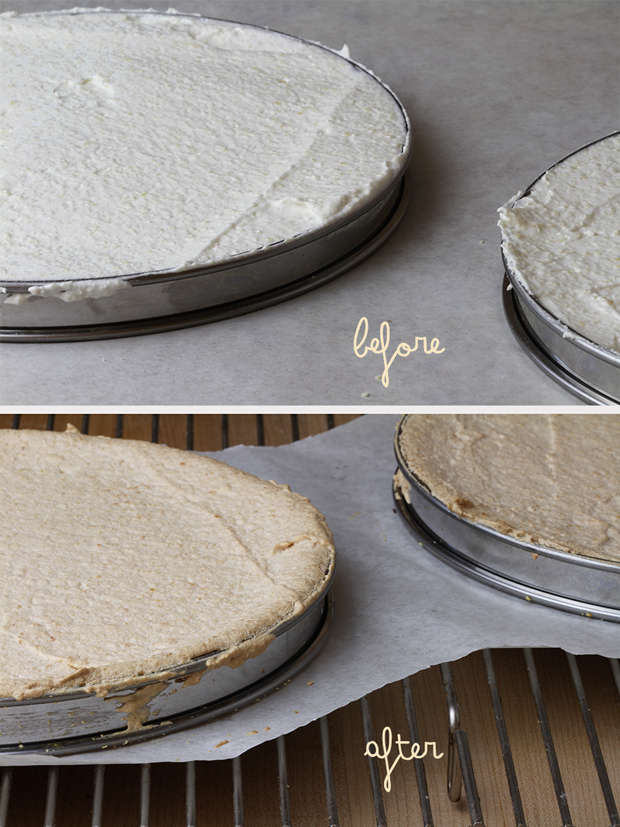 Before and After Baking Dacquoise