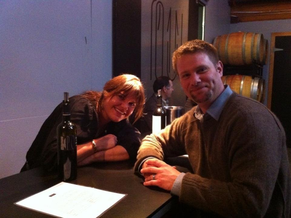 Megan Overman (L), sommelier at Chandler's Crabhouse, sitting with Brian Grasso, head winemaker of Structure cellars