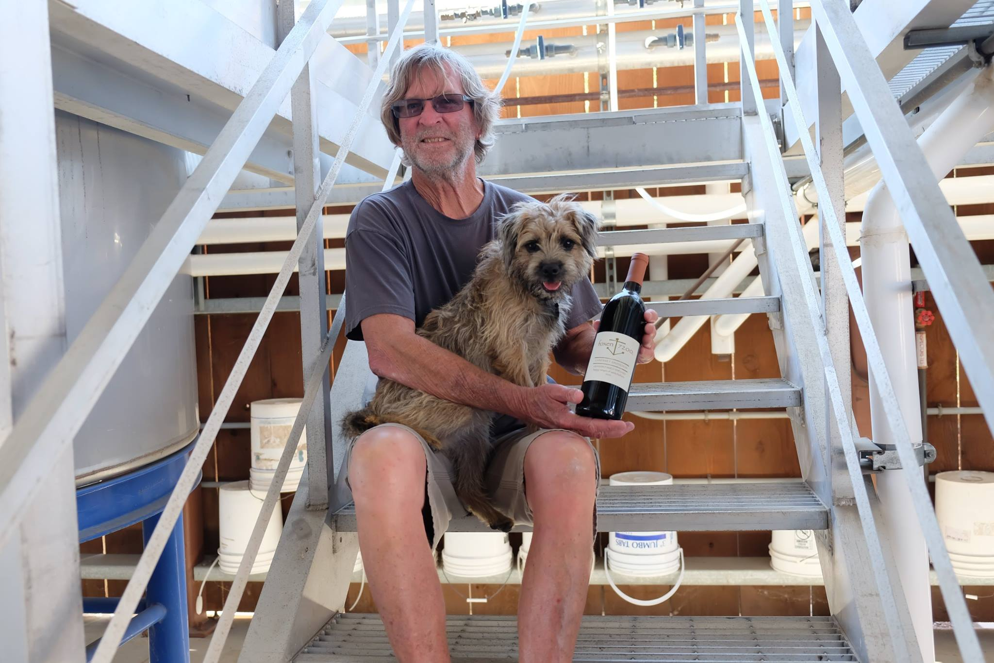A winemaker with his dog. Bill Walthen has crafted some of the best Pinot Noir for many years in the Santa Barbara area. His new releases were highly impressive.