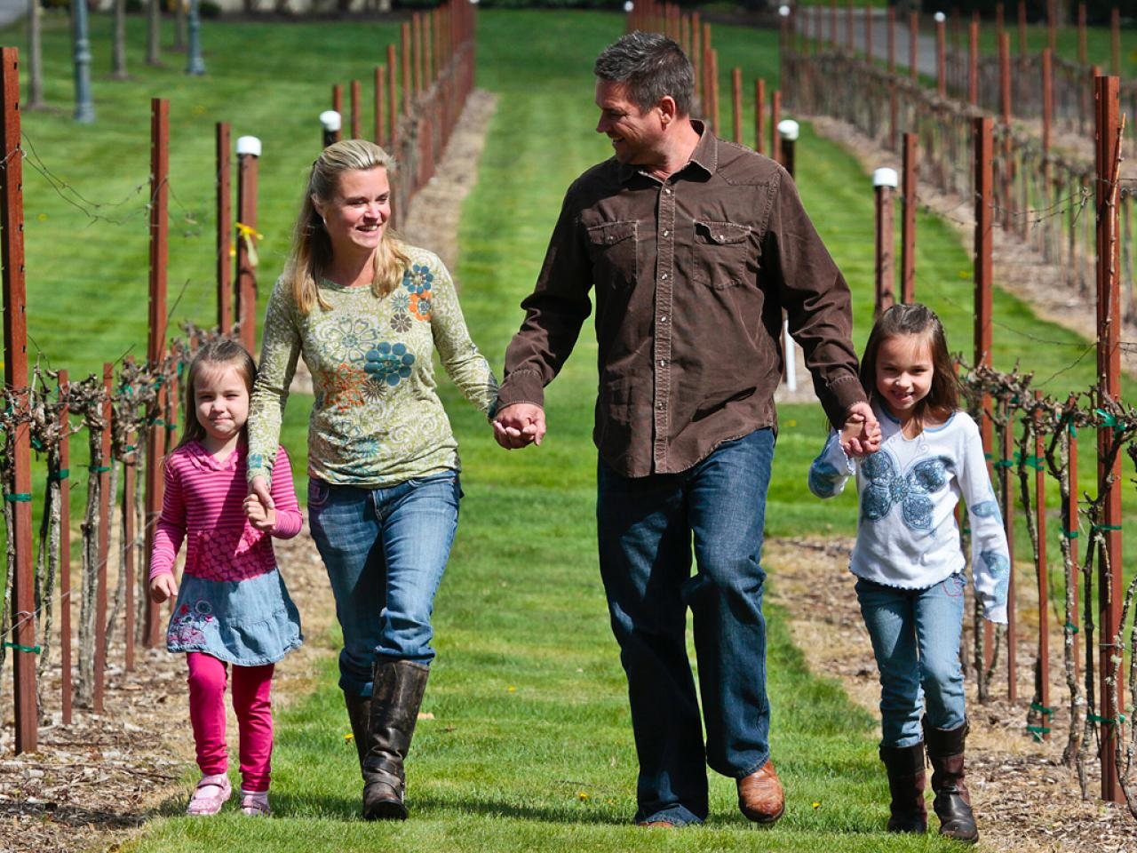 Christian Sparkman and his family in the vineyard