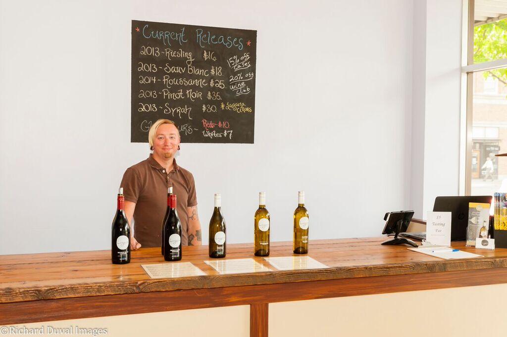 Jason Fox, head winemaker and owner of Lagana Cellars, in his Walla Walla tasting room (photo by Richard Duval)