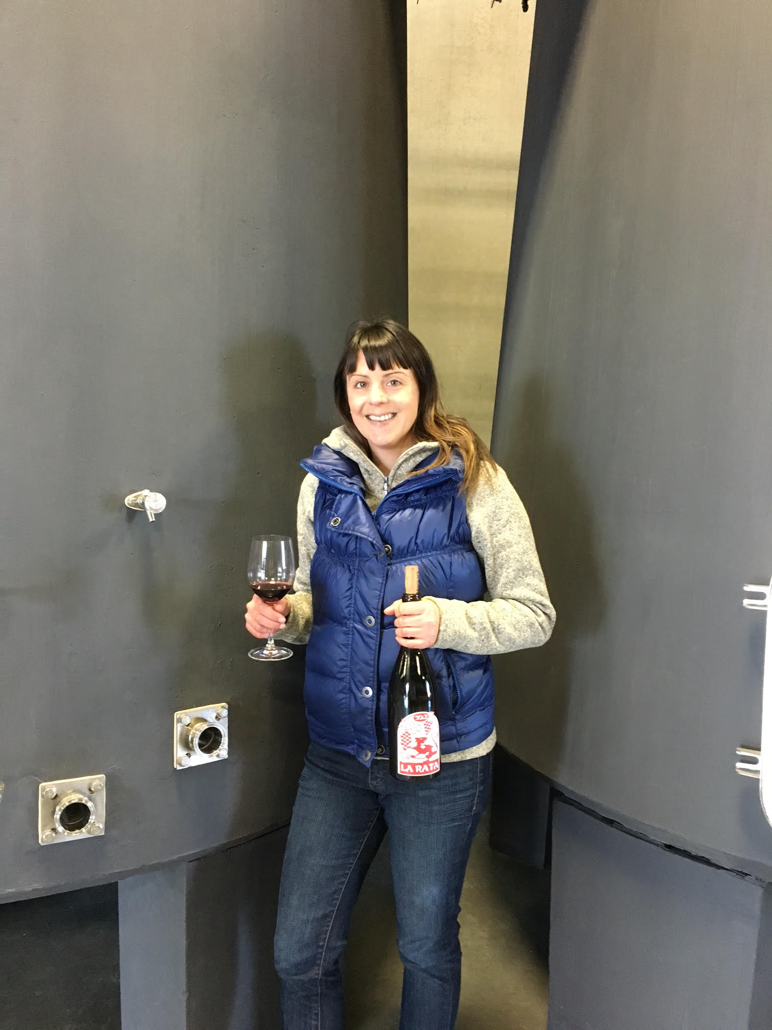 Vigneronne Elizabeth Bourcier and her La Rata bottling at Cayuse Vineyards