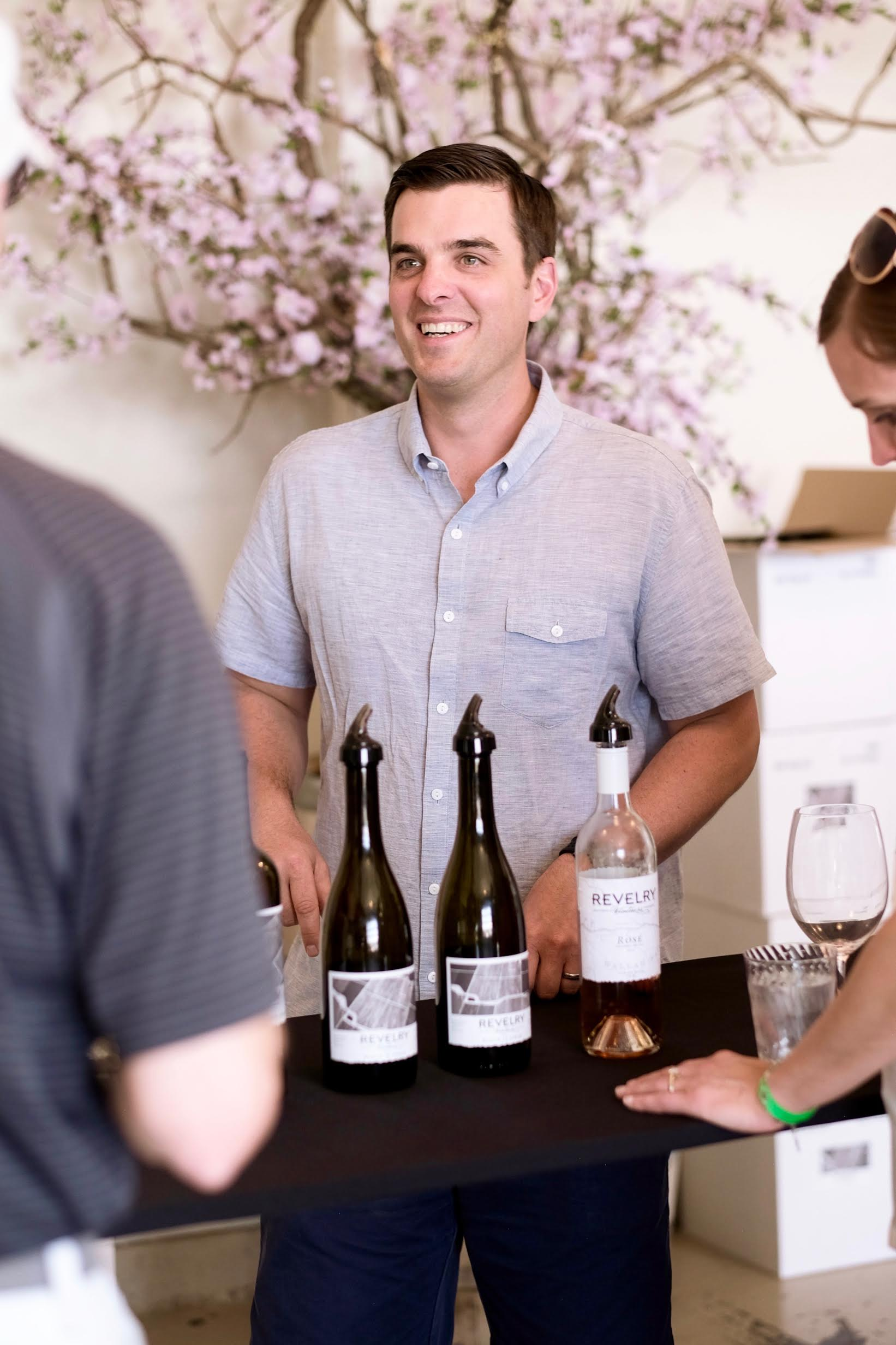 Jared Burns pours some of his fantastic wine at one of his wine events at Revelry Vintners