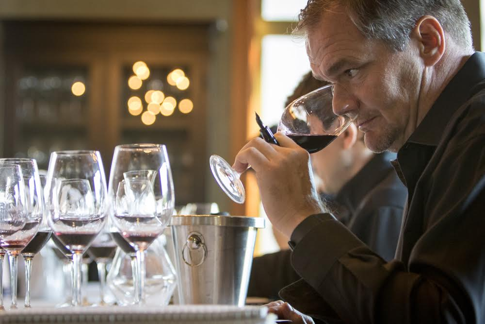 Great picture here of superstar winemaker, Jean Hoefliger, head winemaker at Alpha Omega, sampling some of his Cabernets (photo by Suzanne Becker Bronk)