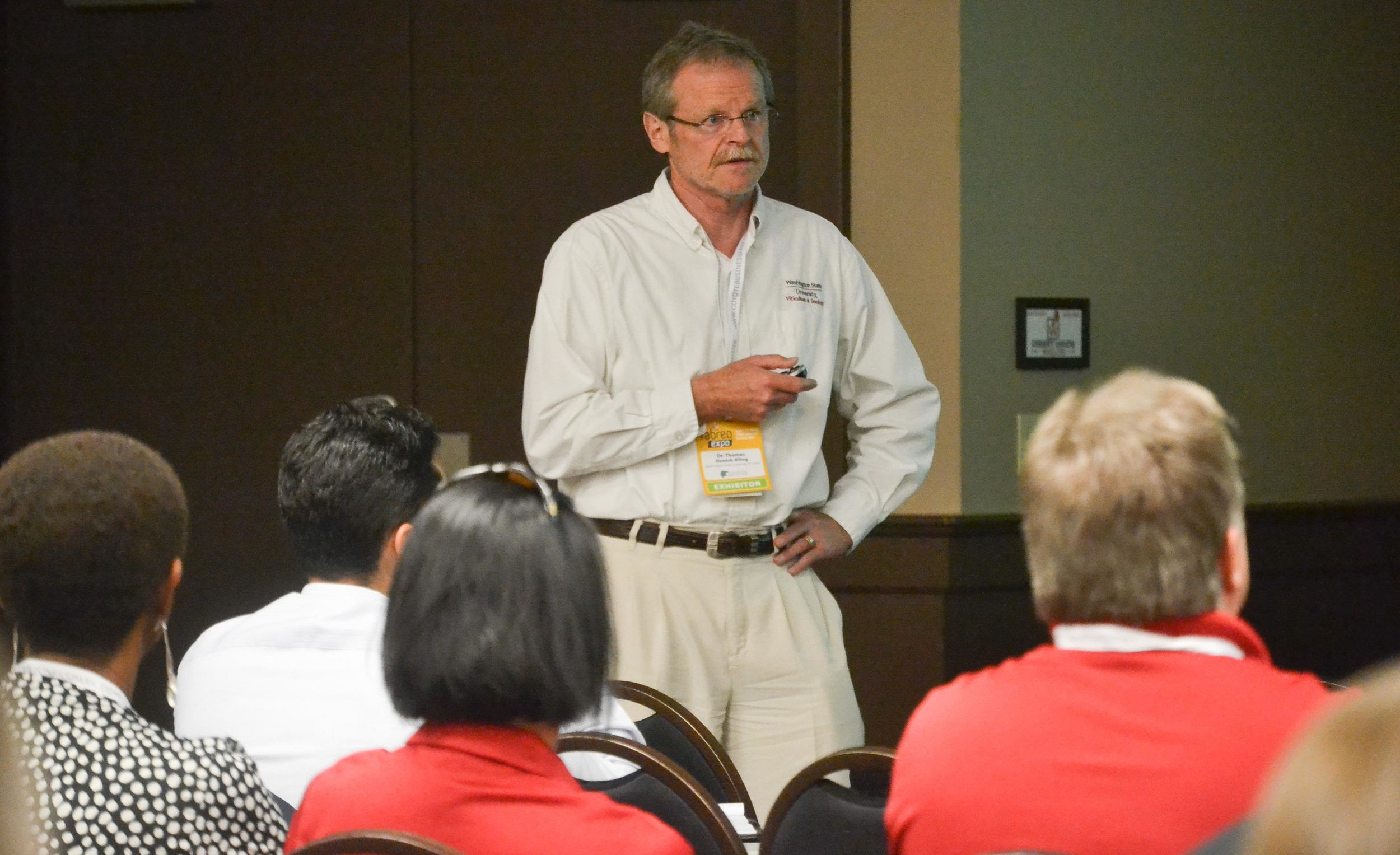 Great picture here of Dr. Thomas Henick-Kling during one of his lectures. Henick-Kling serves as the director of the viticulture and enology program at Washington State University, Tri-Cities.