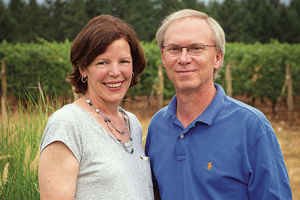 Great photo here of Le Cadeau owners Deb and Tom Mortimer who purchased in 1996 28 acres of never-before-cultivated land in the Chehalem Mountains AVA in Willamette Valley, Oregon.