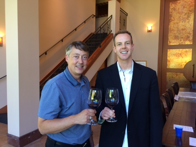 Here I am (R) tasting at the gorgeous Quilceda Creek winery with their general manager, John Ware (L).