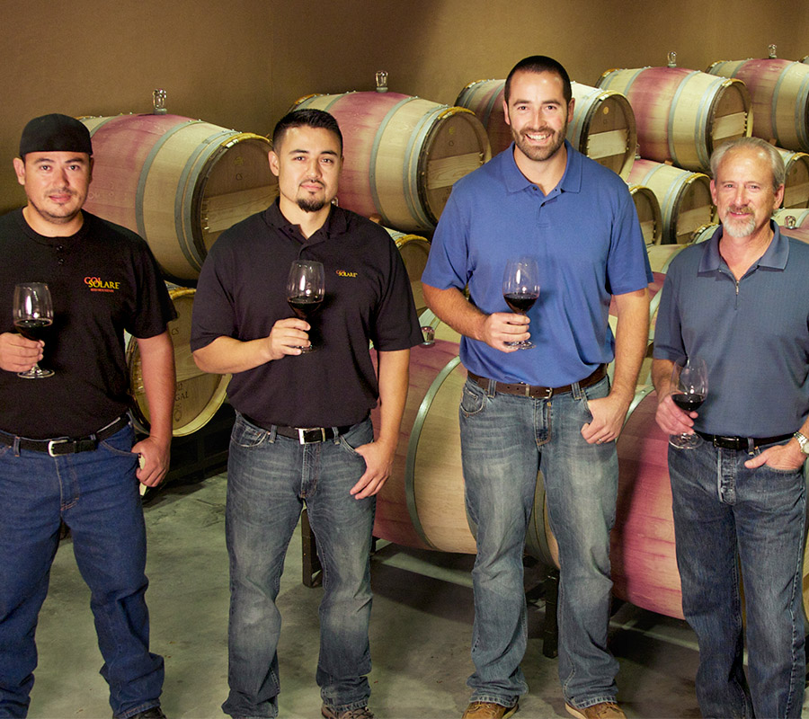 Great photo here of the winemaking team, including Darel Allwine, winemaker, (far R) and assistant winemaker, Will Wiles (L of Darel). Bob Betz, MW, joined forces with the Col Solare winemaking team earlier this year.