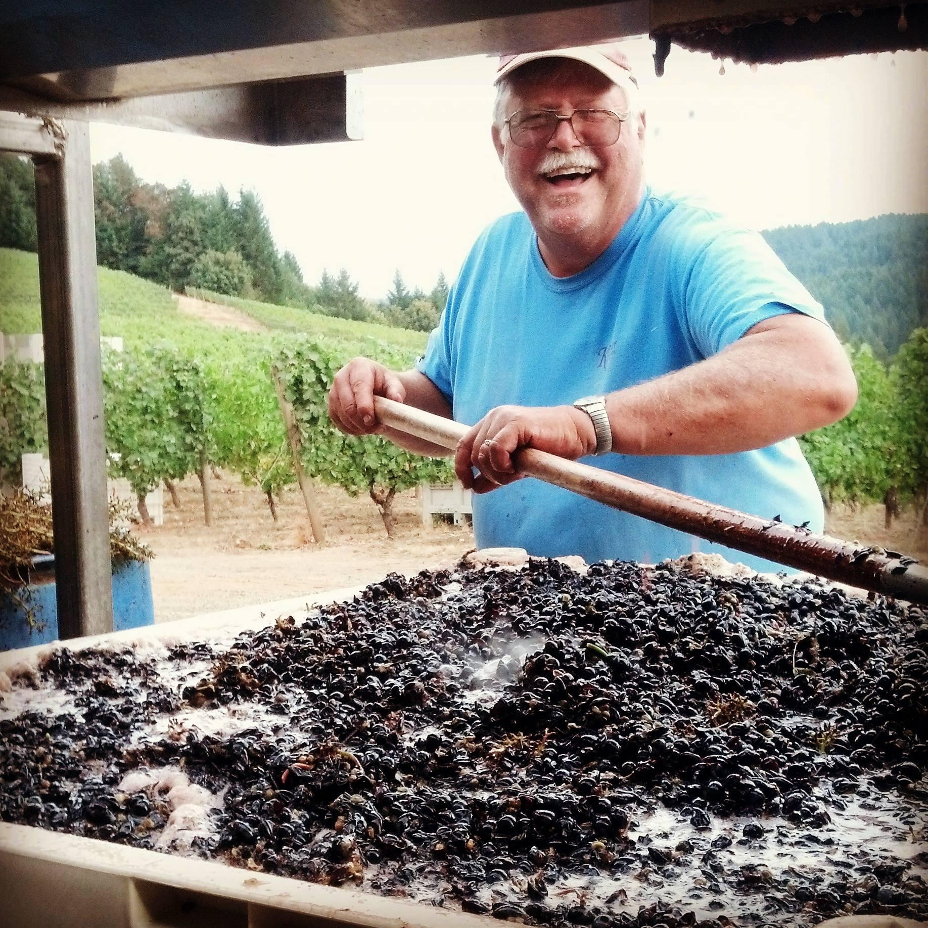 Just a killer photo of the Kramer Vineyards co-owner and vineyard manager, Keith Kramer, during harvest.