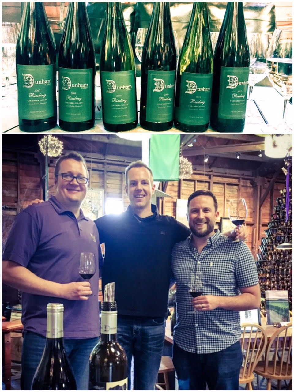 We had a fantastic time at our new release and Riesling retrospective tastings at Dunham Cellars. I'm pictured here with Dunham GM John Blair (L) as well as Dunham head winemaker Tyler Tennyson (R).