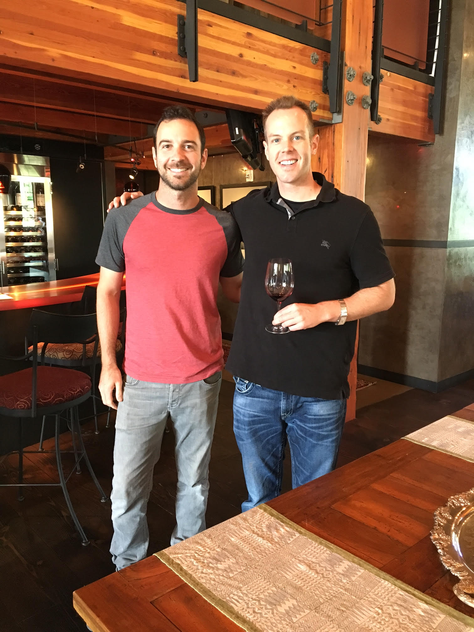 I had a fantastic time hanging out with superstar winemaker, Andrew Trio (L), of Corliss Estates