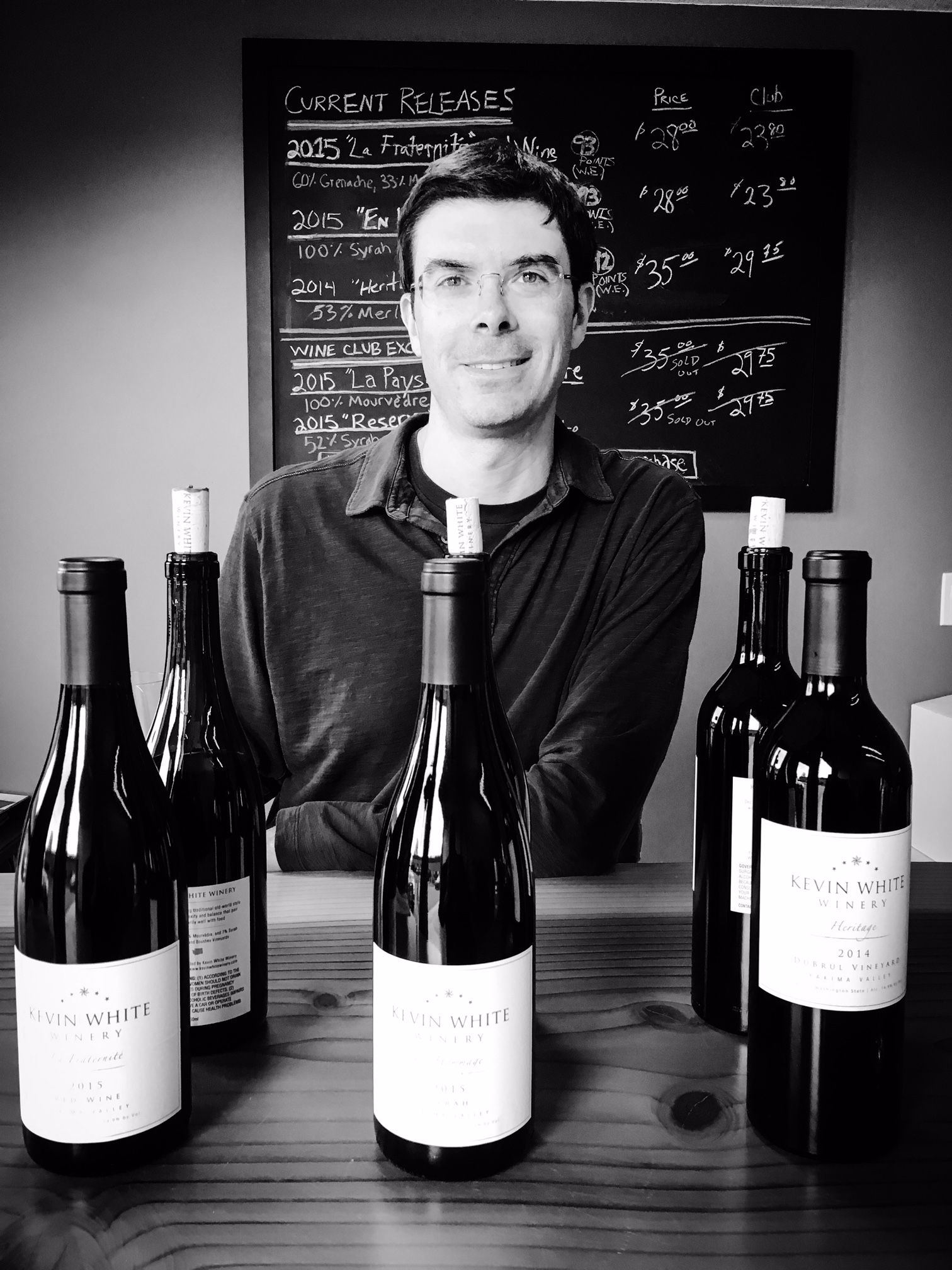 Great photo here of Kevin White and his fantastic new release wines in his tasting room.
