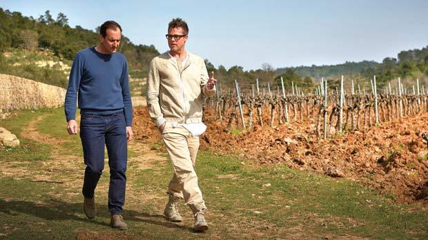 Cool photo here of iconic vintner, Marc Perrin (L) with Brad Pitt at the Miraval vineyards.