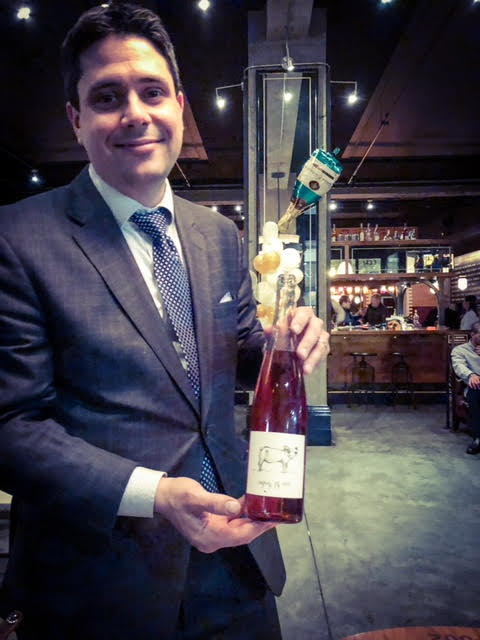 Great photo here of advanced sommelier, Paul Swanson, with the 2015 Big Table Farm Rose (WWB, 93)