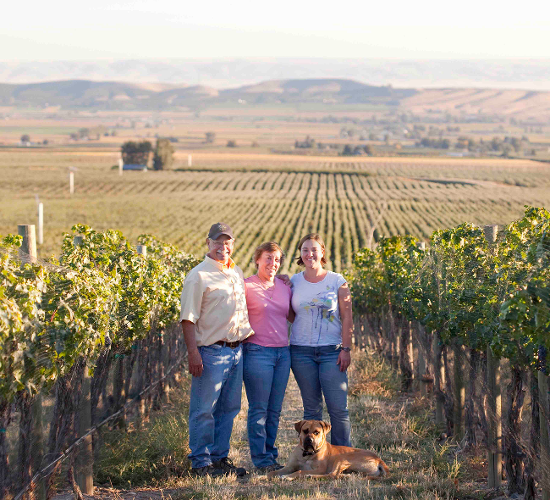 Great photo here of the Shiels family in their DuBrul Vineyard.