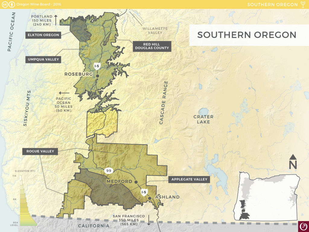 This map is a great resource for breaking down the locations of the exceedingly large Southern Oregon AVA.