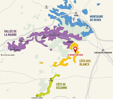 Pictured here in red is the famed Le Mesnil Vineyard.