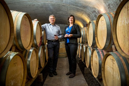 Great photo here of Adelsheim winemaker, Gina Hennen with former Adelsheim winemaker, Dave Paige.