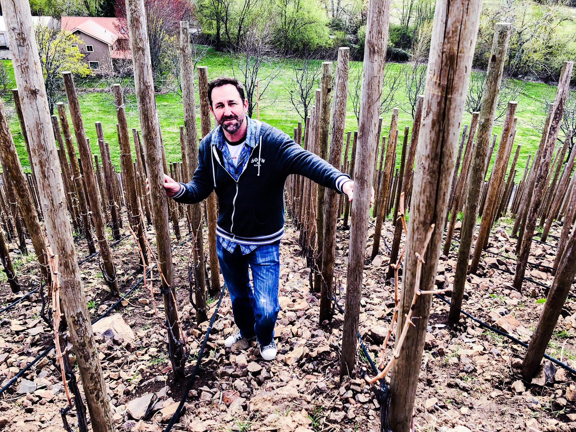 Great photo here of Sleight of Hand co-founder, Trey Busch, in his Ziggy Stardust Block of the Elevation Vineyard.