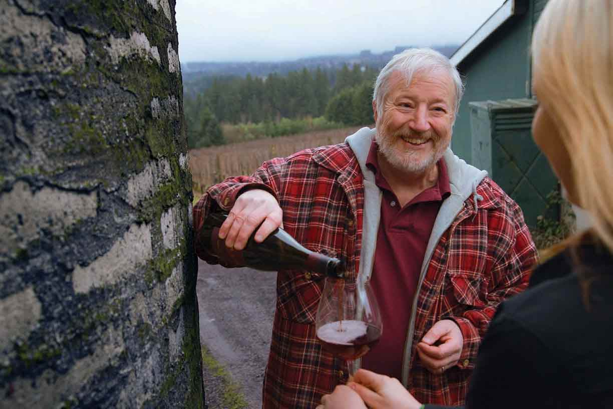 Great photo here of Ruby Vineyard co-proprietor, Stephen Hendricks, pouring wine for one of his guests.