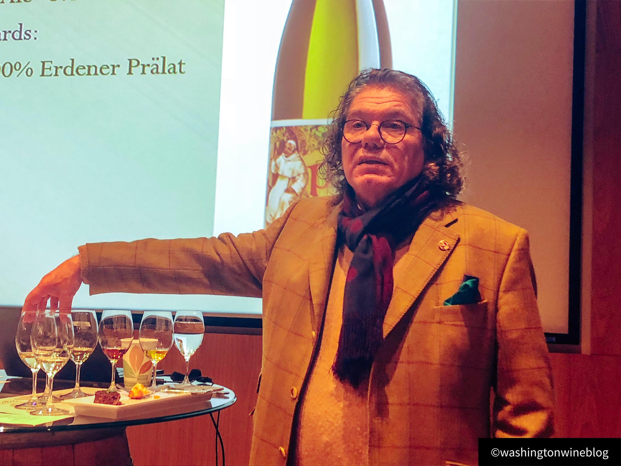Great photo here of Dr. Ernst Loosen at Chateau Ste. Michelle as he lectures on his beautiful wines.