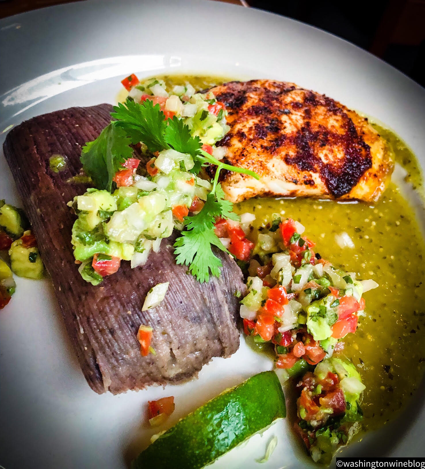 Delightfully playful Mexican style preparation of Halibut.