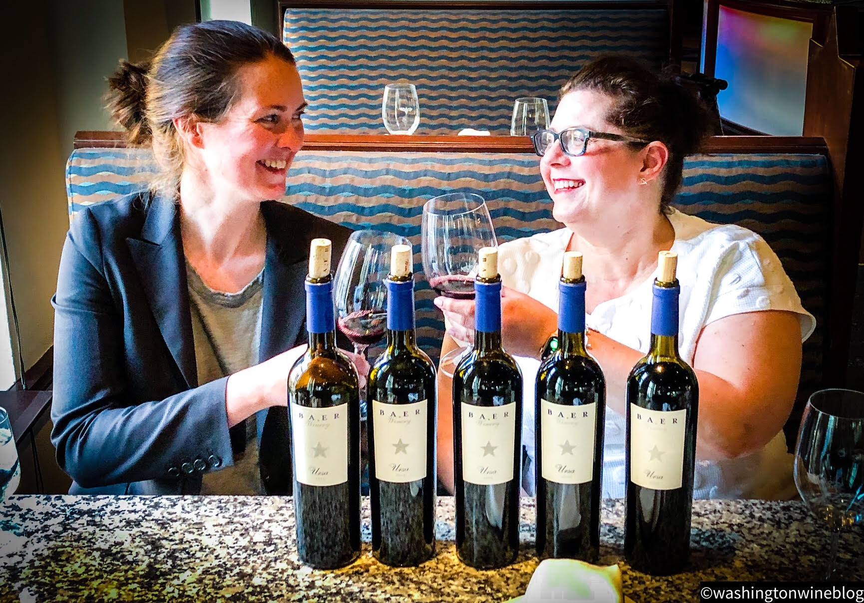 It was a magical evening as we explored one of the great boutique Washington wines, the Baer 'Ursa' red wine with Baer winemaker Erica Orr (L) and owner Lisa Baer (R).