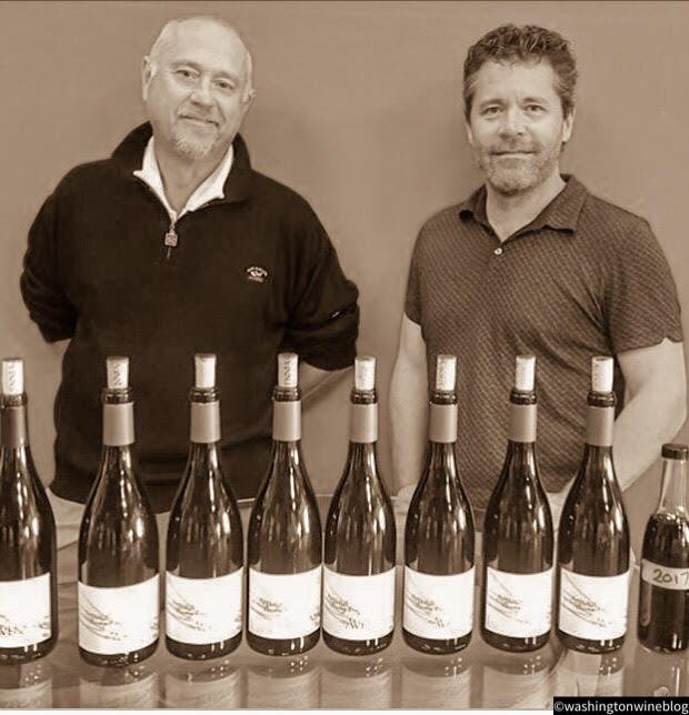 Great photo here of Marty Taucher (L) and Chris Peterson (R) who team up to make some of the most exciting new wines out of Washington at Avennia.