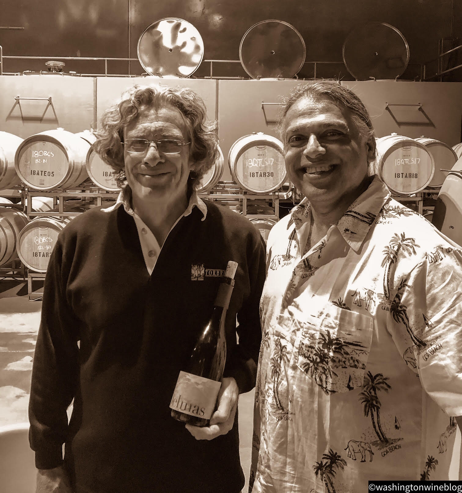 Brilliant photo of Delmas founder, Steve Robertson (L) with his talented winemaker, Billo Naravane, MW (R).